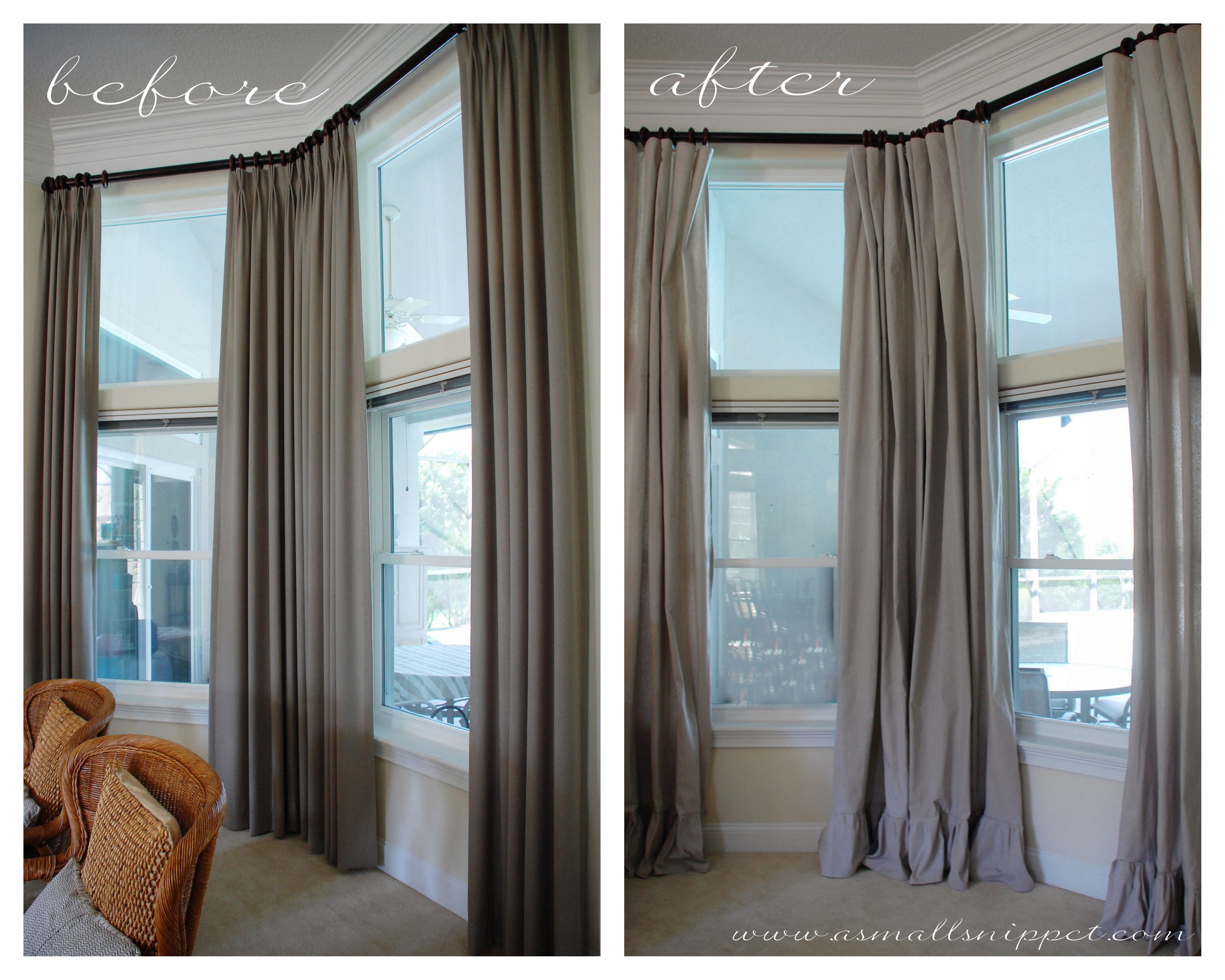 Diy Drop Cloth Curtains Ruffled Drop Cloth Curtains A Small Snippet